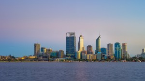 City of Perth skyline at dawn from South Perth
