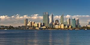 The bright summer sun illuminates the City of Perth