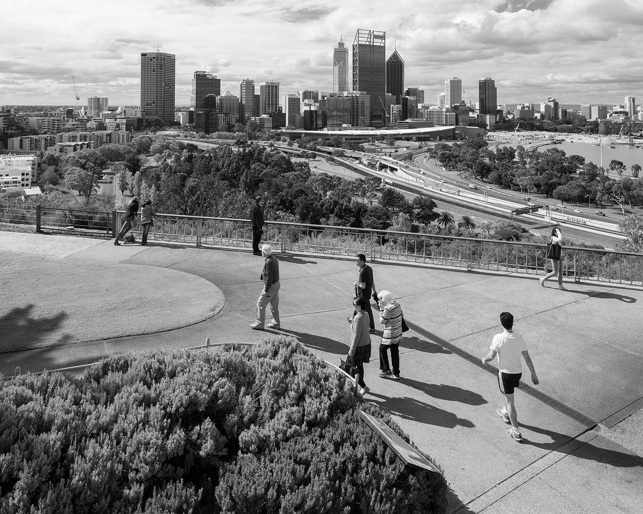Shapes and shadows of Perth City in black and white