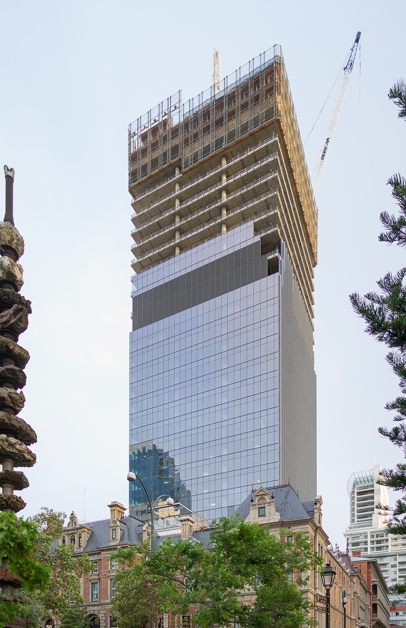 Treasury building and office tower construction