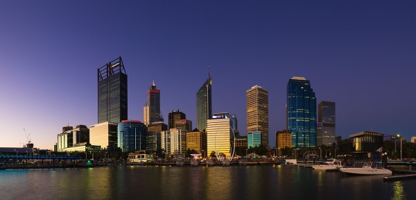 Perth City from Elizabeth Quay at Dusk