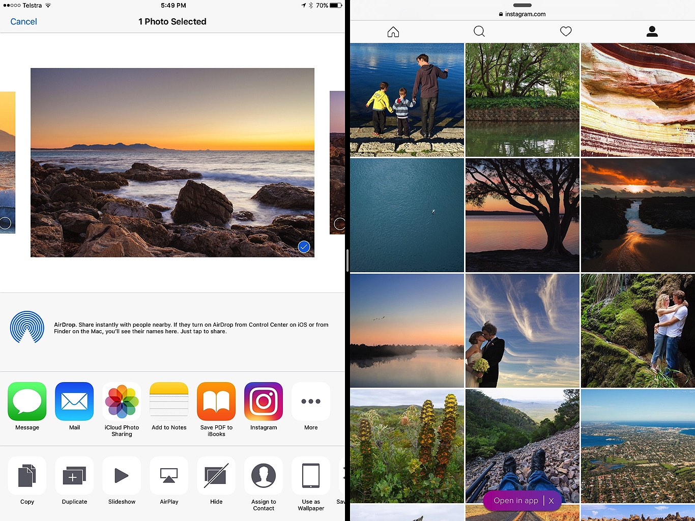 how to open instagram photo in safari
